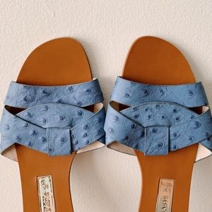 Zara Blue Cross Leather Slides